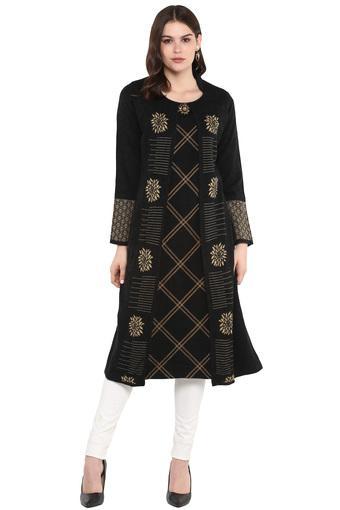 Womens Collared Printed Embellished Knitted Kurta