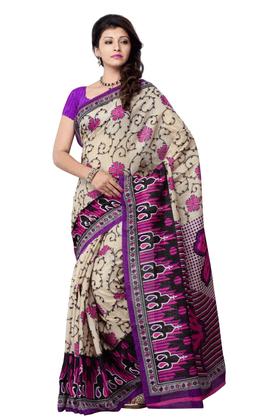 DEMARCADe Marca Beige::Pink Art Silk Designer DF-450A Saree