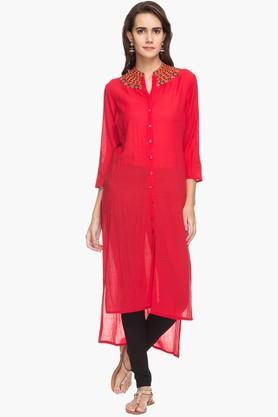 RS BY ROCKY STAR Womens Embroidered High-low Kurta