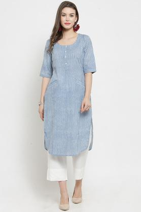 Womens Round Neck Stripe Kurta and Pant Set