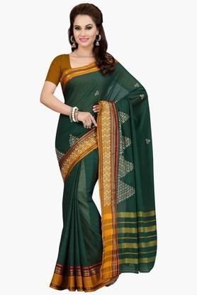 ISHIN Womens Embroidered Mercerised Silk Saree