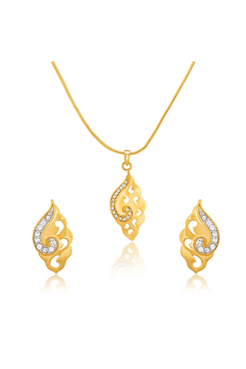 MAHIMahi Gold Plated Spring Time Pendant Set With Crystals For Women NL1101775G