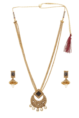 ZAVERI PEARLS Womens Gold Plated Long Necklace Set - 200929012