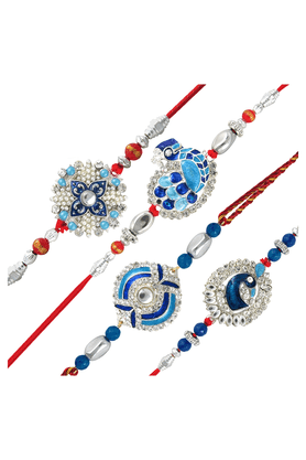 MAHI Combo Of Rhodium Plated Peacock Four Rakhis