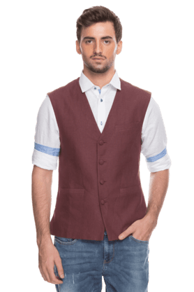 Mens Sleeveless Slim Fit Solid Waistcoat