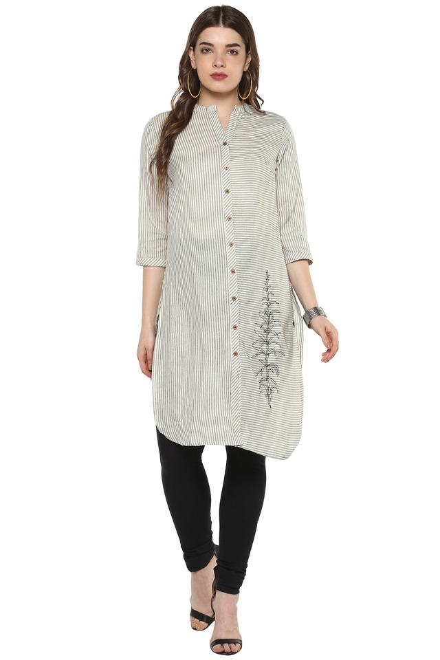 Womens Mandarin Collar Stripe Kurta