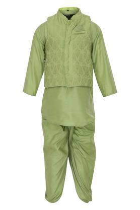 Boys Mandarin Collar Solid Kurta and Dhoti Set with Jacket