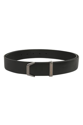Mens Leather Buckle Closure Casual Web Belt