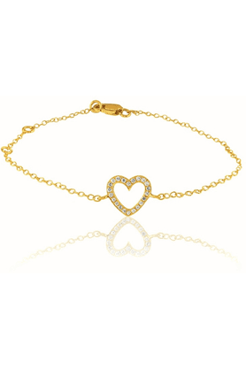 SPARKLES Beautiful 18kt Gold And Real Diamonds Heart Shaped Bracelet - SWBR7532