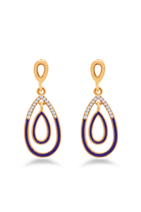 JAZZ Unique Fancy Design Gold Plated Stone Purple Earring For Wedding