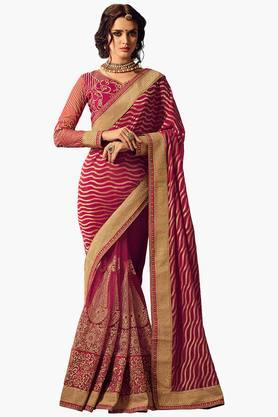 ISHIN Women Net With Georgette Pallu Embroidered Saree