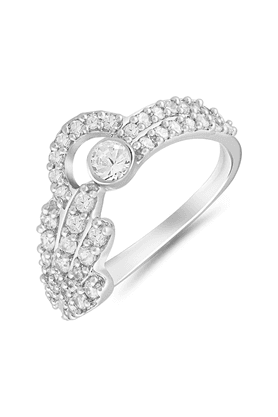 MAHI Mahi Rhodium Plated Vivacious Finger Ring With CZ For Women FR1100637R