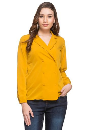 Womens Notched Lapel Solid Top