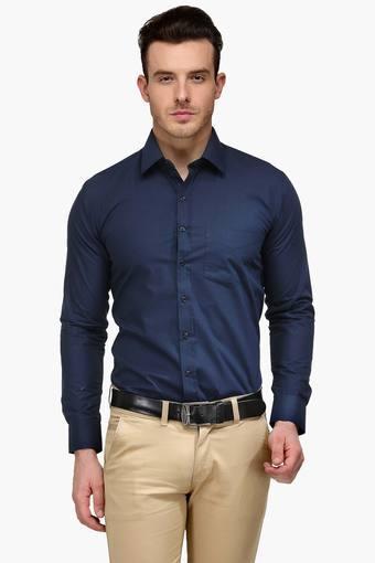 Mens Navy Slim Fit Solid Formal Shirt
