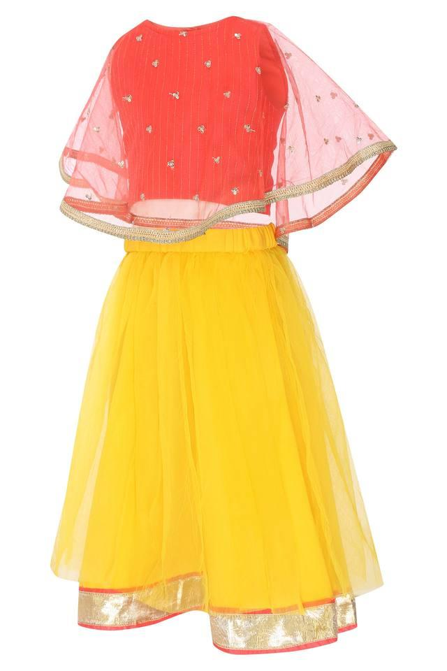 Girls Round Neck Sequined Top and Skirt Set