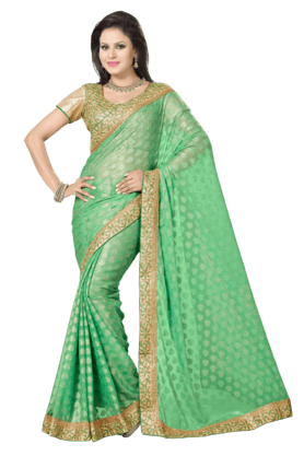 DEMARCA Women Chiffon Saree (Buy Any Demarca Product & Get A Pair Of Matching Earrings Free)