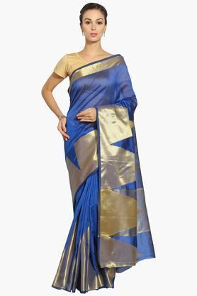 Women Chanderi Saree With Zari Temple Border