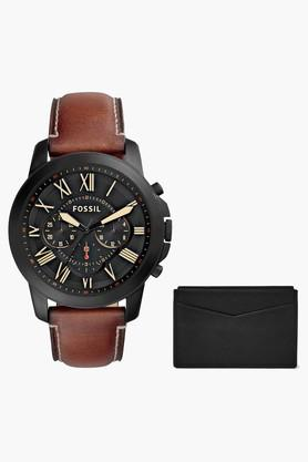 FOSSIL Mens Chronograph Leather Watch And Card Holder Set