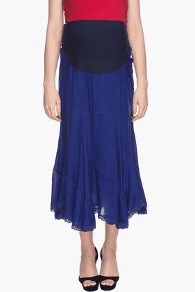NINE MATERNITYWomens Solid Asymmetric Skirt