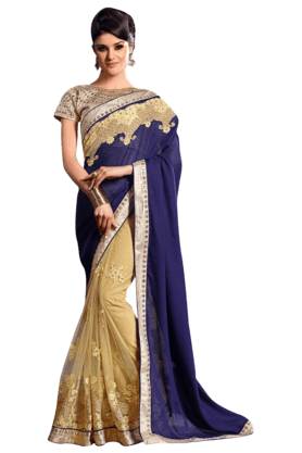 DEMARCA Women Satin Saree (Buy Any Demarca Product & Get A Pair Of Matching Earrings Free)
