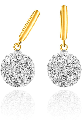 MAHI Mahi Gold Plated Sterling Balls Bali Swarovski Crystal Earring For Women ER1104004G