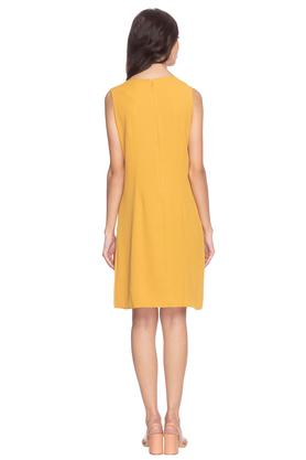 Womens Round Neck Solid Blouson Dress