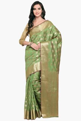 Womens Art Silk Golden Weave Saree With Blouse Piece - 202531425
