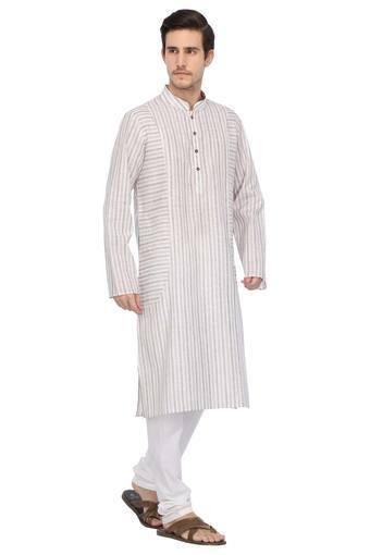 Mens Mandarin Collar Stripe Kurta & Pyjama Set