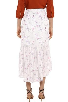 Womens Floral Print Flared Skirt
