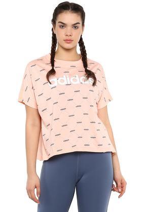 Womens Round Neck Graphic Print Sports T-Shirt