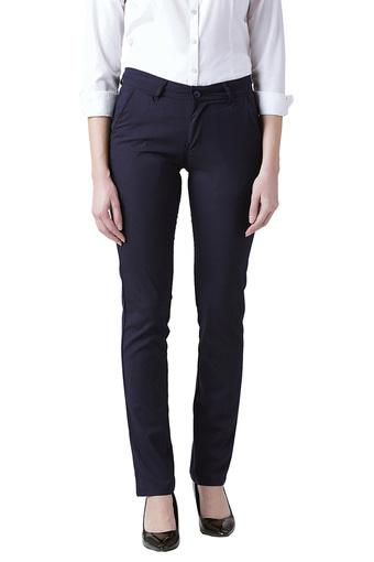 Womens Slim Fit Solid Formal Trousers