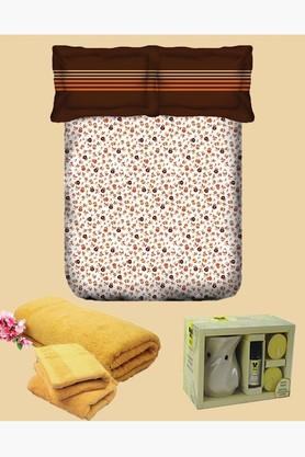 TANGERINE Cotton Floral Double Bedsheet, Pillow, Towel And Vaporiser Set