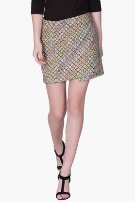LABEL RITU KUMAR Womens Wrap Around Printed Mini Skirts
