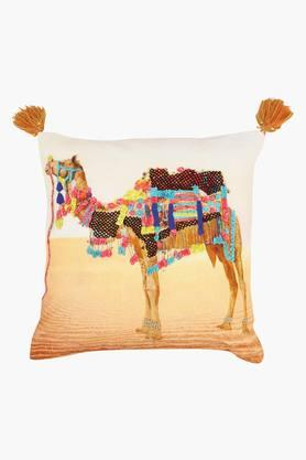 Square Camel Printed Embroidered Cushion Cover