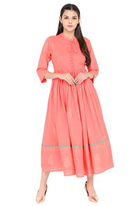 Womens Tie Up Neck Printed Flared Dress