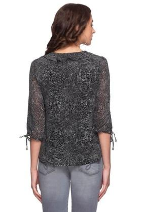 Womens Tie Up Neck Ruffled Printed Top