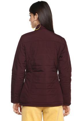 Womens Band Collar Check Jacket