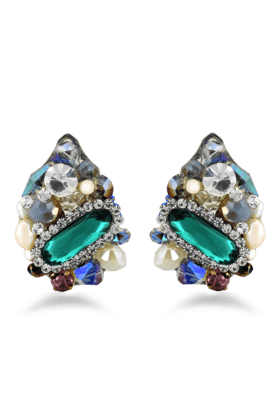 JAZZTraditional & Fancy Design Multicolor Stone & Pearl Sudded Earring