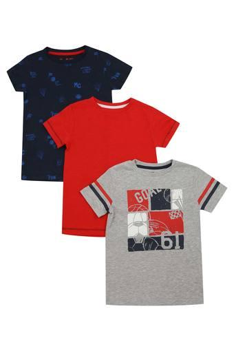 Boys Round Neck Printed and Slub Tee Pack of 3