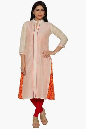 JASHN Women Cotton Kurta With Printed Inner - 202444357_9607