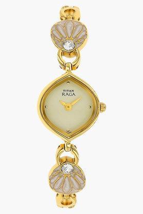 TITANWomens Off White Dial Brass Strap Watch