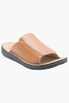 Mens Leather Slip On Casual Slippers - 202389689