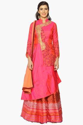 Womens Semi Stitched Mandarin Neck Embroidered Angrakha Style Kurta And Lehenga Set