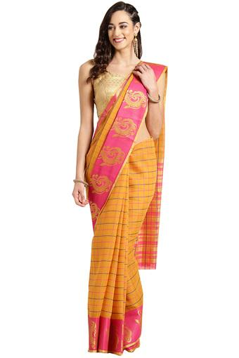 Womens Check Saree with Blouse Piece
