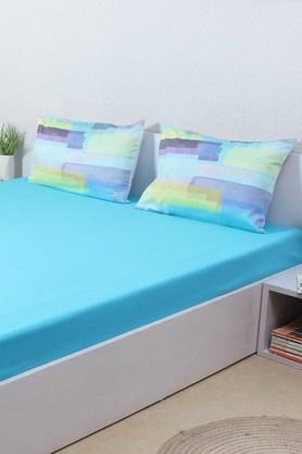 HOUSE THIS The Sticky Tapes 100% Cotton Sateen Single Bed Sheet & 1 Pillow Cover - Blue