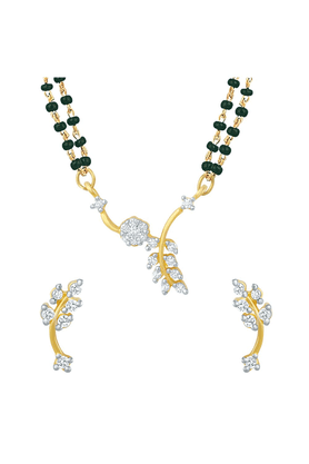 MAHI Mahi Gold Plated Unperturbed Beauty Mangalsutra Set With CZ For Women NL1101487G2