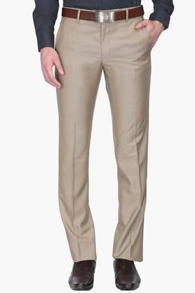 VAN HEUSEN Mens Slim Fit 4 Pocket Solid Formal Trousers  ... - 201941152