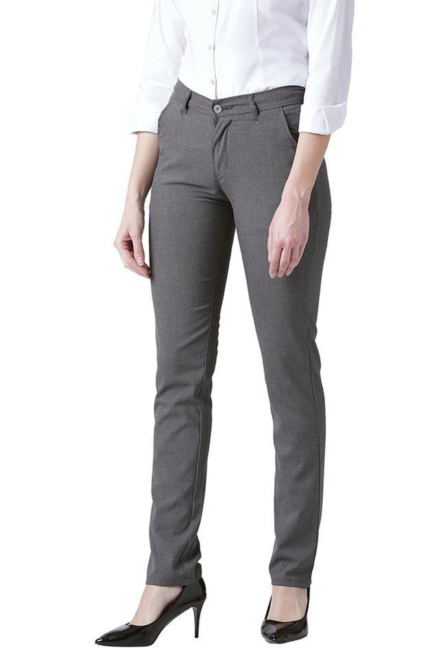 Womens Slim Fit Slub Formal Trousers
