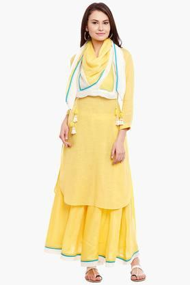 LABEL RITU KUMAR Womens Cotton Blend Kurta Skirt Set  ...