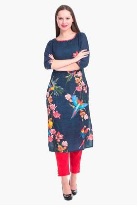 SHREEWomen Floral Print Rayon Kurta